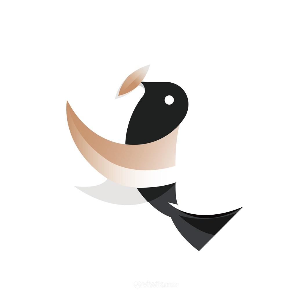 鸟树叶标志图标矢量logo设计素材