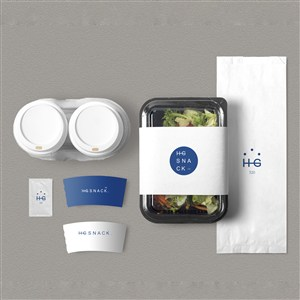 甜品店VI杯套透明食品包装盒包装袋贴图样机