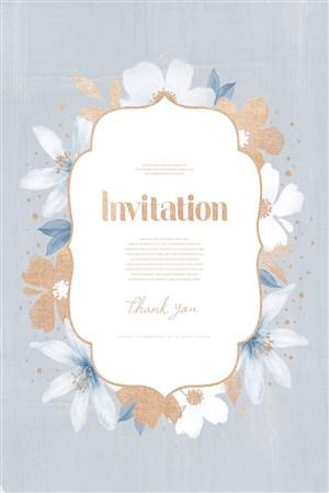 高档鎏金花朵婚礼邀请函请柬模板