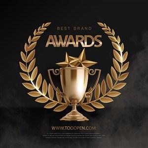 豪华颁奖盛典金色奖杯麦穗海报设计素材