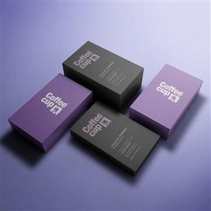 紫色背景时尚名片样机模板