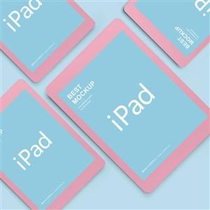 蓝色背景上炫彩苹果ipad样机