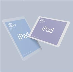 两个悬浮的苹果ipad样机
