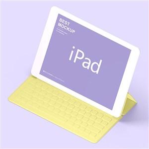 带键盘的苹果ipad贴图样机