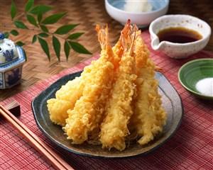 日本料理基围虾天妇罗美食图片