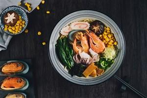 日本料理基围虾黄豆日式经典拉面美食图片
