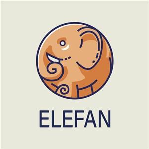 圆形大象标志图标矢量logo素材