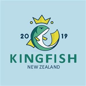 皇冠鱼标志图标矢量logo素材