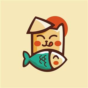 猫鱼标志图标矢量logo素材