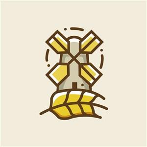 风车麦穗标志图标矢量logo设计素材