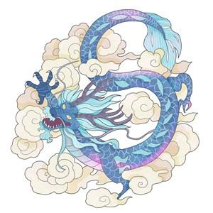 云腾上蓝色的中国龙绘画图片