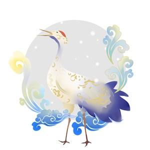 丹顶鹤唯美画风PNG绘画图片
