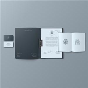 文件夹名片笔记本贴图样机