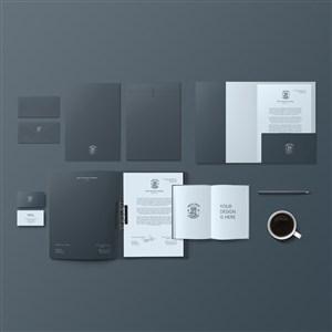 文件夹文件袋名片笔记本贴图样机