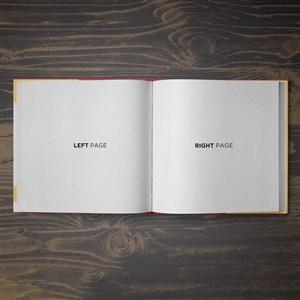 打开的正方形书本画册样机