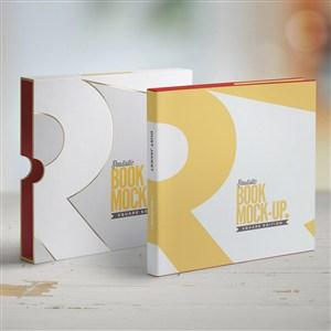 带书套的正方形书本画册装帧设计样机