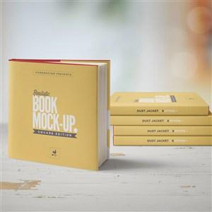 竖立的正方形书本画册装帧设计样机
