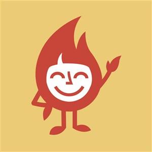 笑脸火焰标志图标矢量logo素材