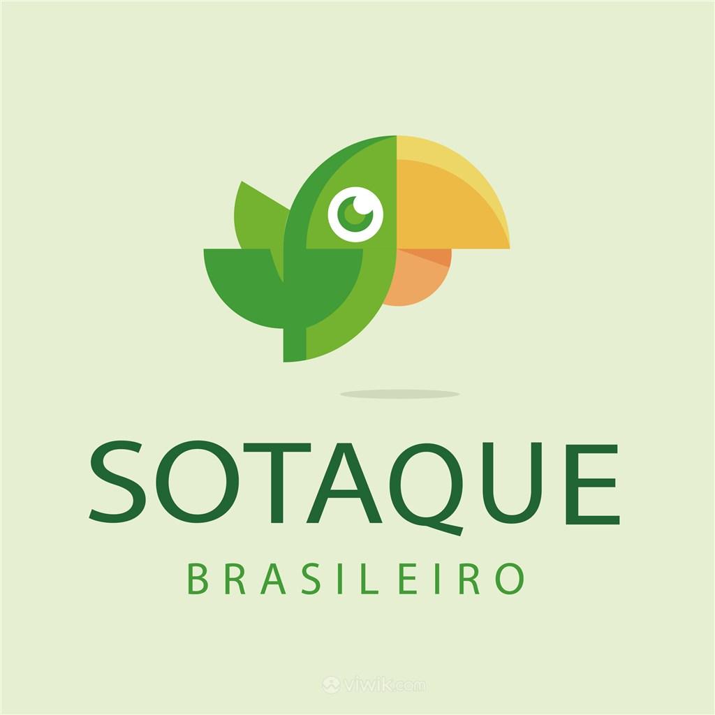 绿色大嘴鹦鹉标志图标矢量logo素材