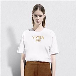 奶茶店VI工作服T恤样机