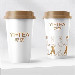 奶茶店VI奶茶杯贴图样机