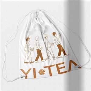 奶茶店VI抽绳布袋样机