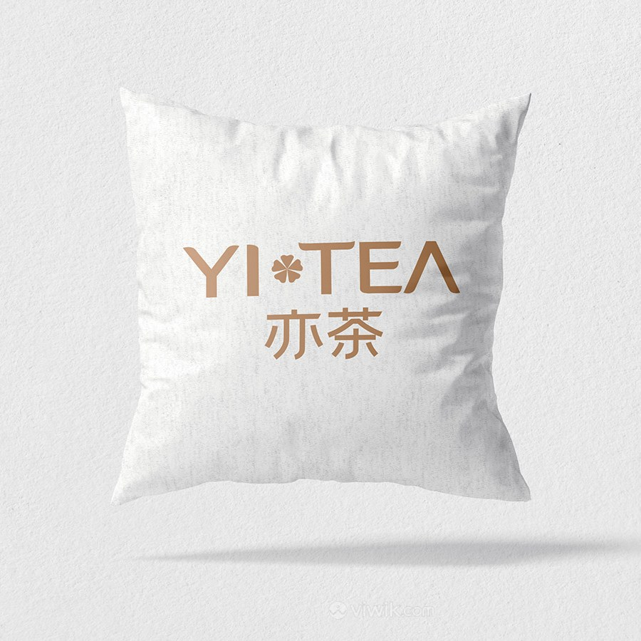 奶茶店VI抱枕贴图样机