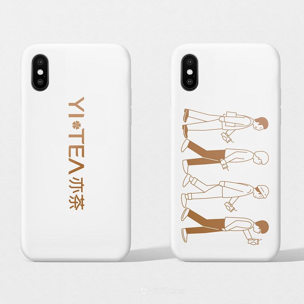 奶茶店VI手机壳贴图样机