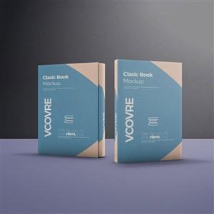 两本竖立的书籍封面贴图样机