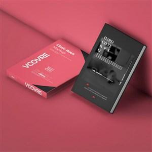红色背景书籍封面贴图样机