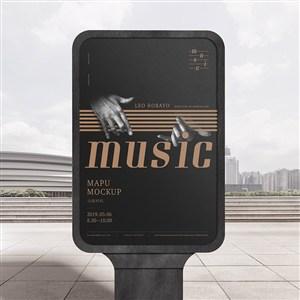音乐品牌全套VI灯箱广告贴图样机