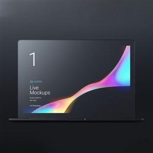 黑色笔记本Macbook贴图样机
