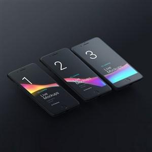 三台黑色iphone手机贴图样机