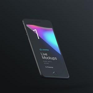 悬浮的黑色iphone手机贴图样机