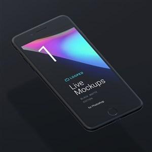 黑色iphone手机贴图样机