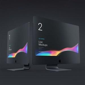 两台黑色苹果电脑显示器贴图样机