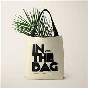 装了树叶的环保购物袋贴图样机