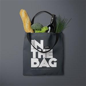 装了法棍和蔬菜的环保购物袋贴图样机