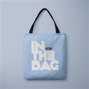 蓝色环保购物袋贴图样机