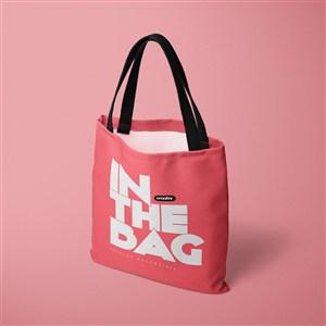 红色环保购物袋贴图样机