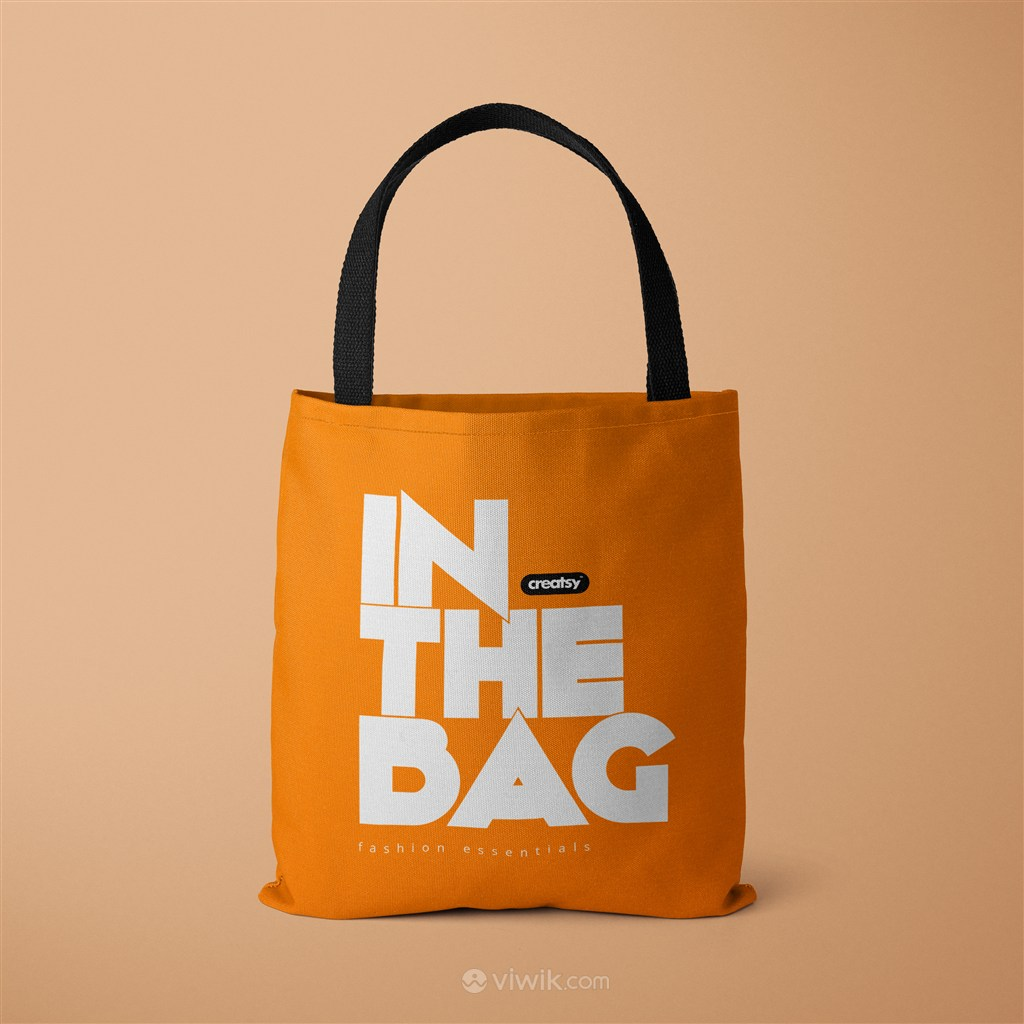 橘色环保购物袋贴图样机