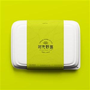 中式餐厅VI打包盒贴图样机