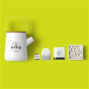 中式餐厅vi茶壶茶包贴图样机