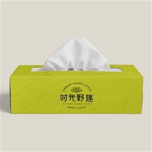 中式餐厅VI餐巾纸盒贴图样机