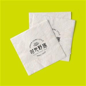 中式餐厅VI餐巾纸贴图样机
