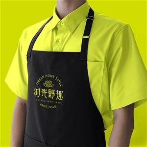 中式餐厅vi围裙贴图样机