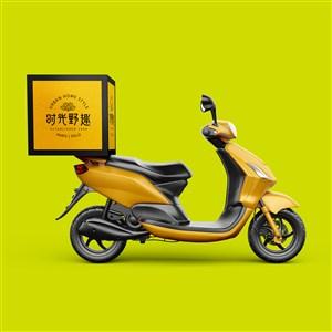 中式餐厅vi送餐车贴图样机